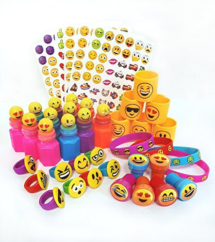 WGS 72 Piece Emoji Party Pack Party Supplies Party Favor Assortment: Emoji Bracelets, Emoji Bubbles, Emoji Rings, Emoji Stickers, Emoji Stamps, Emoji Coils Plus 1 Vortex Eraser