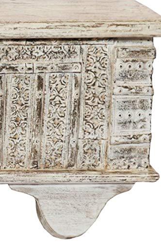 Orientalische Truhe Kiste Holz Ajala 121cm groß in Shabby Weiß | Vintage Sitzbank mit Aufbewahrung für den Flur | Aufbewahrungsbox mit Deckel im Bad | Betttruhe als Kissenbox oder Deko im Schlafzimmer - 6