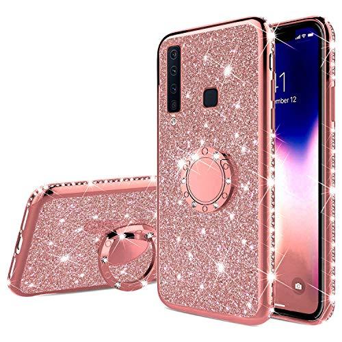QPOLLY Kompatibel mit Samsung Galaxy A9 2018 Hülle Glitzer Handyhülle Kristall Strass Diamant Überzug Silikon TPU mit 360 Grad Ring Ständer Schutzhülle Tasche Hülle per Galaxy A9 2018,Roségold