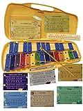 CARRILLON CROMATICO 25 NOTAS DE COLORES UKAM mod.YCL-25K, notas grabadas con los nombres de las notas. Incluye 2 baquetas de colores, pegatinas para las notas y partituras con 12 canciones faciles.