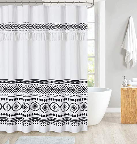 DOSLY IDÉES Tassel Shower Curtain, Black and White,Boho Tribal Striped Bathroom Curtain Set with Hooks,72 x 72 in