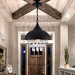 PAPAYA Farmhouse Crystal Black Chandeliers 1-Light Rustic Gilded Ceiling Lights Fixture Industrial Pendant Light for Kitchen Island,Foyer