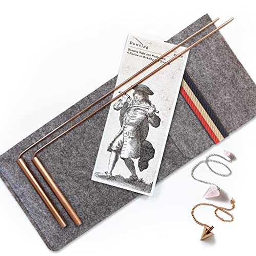 Dowsing Rods Copper - Made in USA - 99.9% Pure Copper - Water Divining, Energy Healing, Paranormal, Gold, Yes No Questions. Instructions and Bonus Pendulum - 5x13 Inch Non-Toxic