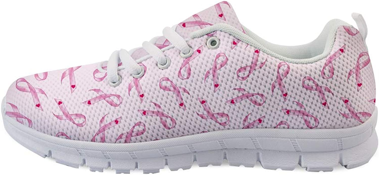 Owaheson Lace-up Sneaker Training shoes Mens Womens Heart Cancer Ribbon Pattern Print