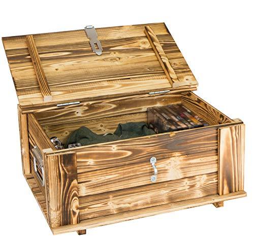 Kistenkolli Altes Land Holztruhe Hugo geflammt mit Deckel Holzkiste Schatzkiste Hochzeitskiste 40 x 30 x 27cm