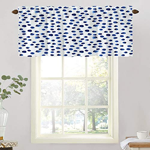 BaoNews Blue Watercolor Kitchen Valances Window Curtain, Navy Paint Blue Watercolor Polka Dot Watercolour Brushstroke Blackout Decoration Window Valances Curtains Drapes Bedroom, 52 X 18 Inch
