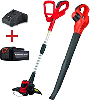 PowerSmart PS76115A 18V Lithium-Ion Cordless String Trimmer/Edger and Blower Combo Kit (Include one Battery and Charger)