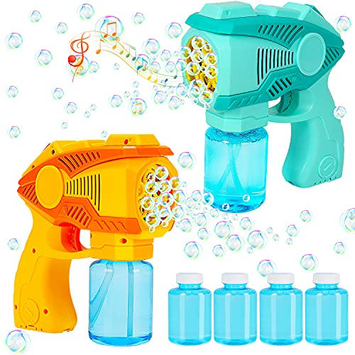 2 Bubble Guns Bubble Machine Blaster with Music  2 Mode Outdoor Toys Bubble Machine Blower Maker with 4 Refill Solution  Kids Toddler Summer Toys Outside Activity Party Favor Birthday Gifts Boy Girl