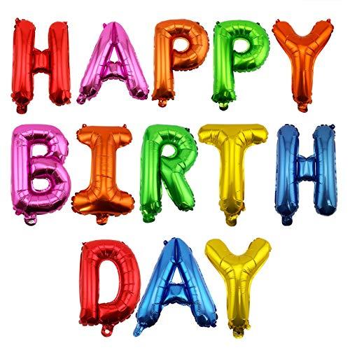 Adorox 16 Inches Happy Birthday Metallic Aluminum Foil Birthday Balloon Banner (Multi-Colored)