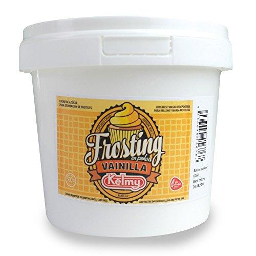Kelmy Frosting Pulver Vanille, 300g, Creme Glasur für Cupcakes und Kuchen, Buttercreme mit Vanilla-Geschmack als Tortendekoration, Zuckercreme