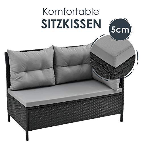 ArtLife Polyrattan Lounge Manacor | Gartenmöbel Set mit Sofa, Tisch & 2 Hockern | Bezüge grau | Sitzgruppe für Garten, Terrasse & Balkon - 3