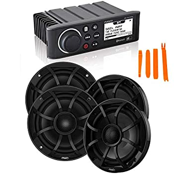 Fusion MS-RA70N Marine AM/FM/BT/NEMA2000 Stereo with 2 Pair Wet Sounds Recon 6-BG High Output 6.5  Marine Coaxial Speakers Black Grill