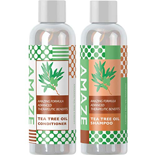 Pure Tea Tree Oil Shampoo and Conditioner Set Herbal Sulfate Free Daily Anti Dandruff Shampoo for Dry Hair and Scalp Essential Oil Formula Helps Prevent Hair Fall and Lice Gentle on Color Treated Hair