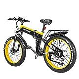 WZW 1000W Adulto montaña Bicicleta Electrica 26 Pulgadas 4.0 Gordo Neumático Plegable Bicicleta eléctrica 48 V / 12,8 Ah Litio Batería Electrónico Bicicleta 21 Velocidad Engranajes