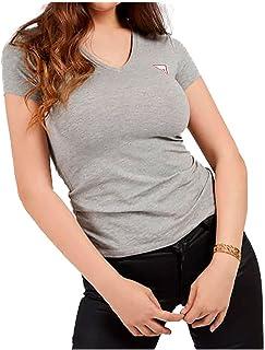 GUESS Women's V-NECK MINI TRIANGLE LOGO T-Shirt