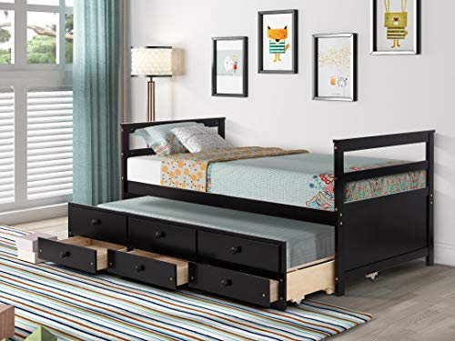 Captain Twin Bed with Trundle and 3 Storage Drawers, Extendable Wood Twin Size Daybed with Roll Out Bed Frame, Kids Teens Adults Dual-use Sturdy for Bedroom Guest Living Room (Brown)