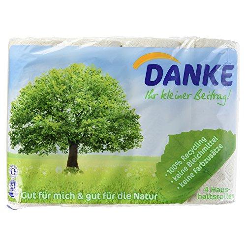 Preisvergleich Produktbild DANKE Haushaltstücher Rollen,  Küchenrollen 3lagig aus 100% Recycling Papier,  1 x 4 Rollen (4 x 45 Blatt)