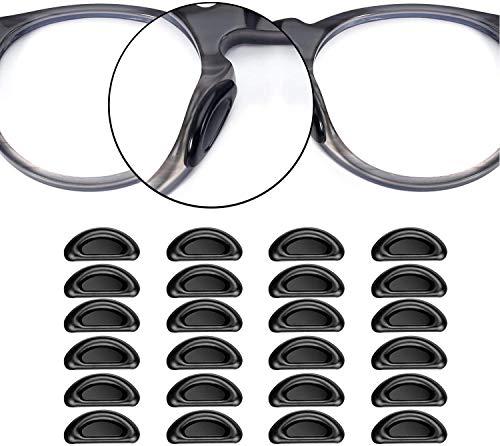 VOARGE 24 Stück Klebstoff Augen Brille Nasen Pads, D Form Stick auf Anti-Rutsch Weiche Silikon, Rutschfeste Selbstklebende Nasenpads, brillenpads Silikon Ovale 15 mm (Schwarz)