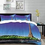 ropa de cama - Juego de funda nórdica, juego de la Torre Eiffel, Sena en París con la Torre Eiffel Sunrise Time Trees River Grass Nature Panoram, juego de funda nórdica de microfibra con 2 fundas de a