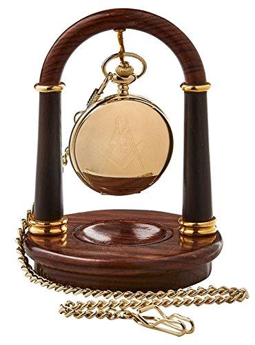 Gold Freimaurer Freimaurer Tasche und Holz Taschenuhr Display Ständer Holz Halterung Aufhänger