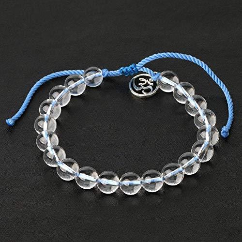 Pulseras De Cristal De 8 Mm, Mantra De Budismo Mate, Pulsera De Oración Om Mani Padme Hum, Cuerda Trenzada Azul, Joyería con Dijes 3D-Vaso Transparente