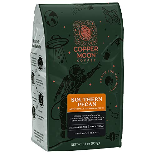 Copper Moon Southern Pecan Flavored Blend, Medium Roast Coffee, Whole Bean, 2 Pounds