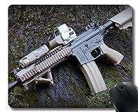 滑り止めマウスパッドマット、武器ライフルマウスパッド 18x22cm
