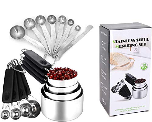 Measuring cups and spoons set stainless steel - Stainless steel measuring cups and spoons can be hanged- Measuring cup and spoons set for measuring coffee pet food grains protein spices dry goods