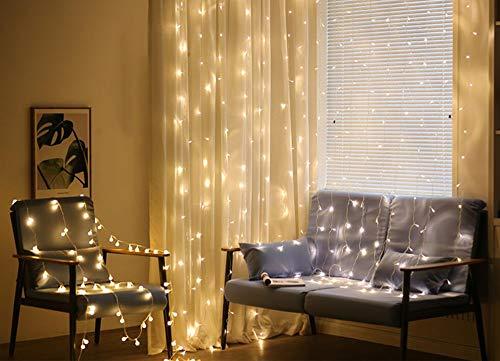 SACYSAC Fairytale gordijn winkel licht geleid sterren lichtketting 300 lampkralen 8 patronen slaapkamer Kerstmis tuin