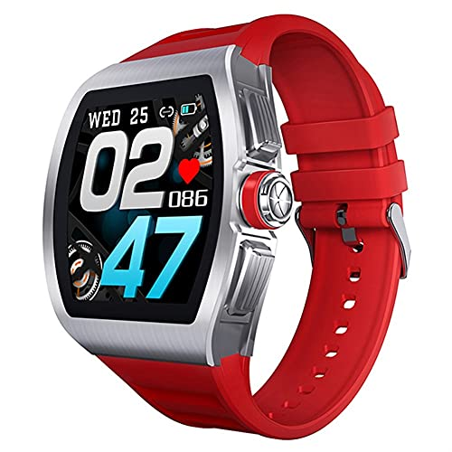 Smart Watch Men IP68 Impermeable Toque Full Touch Presión Arterial Rate Fitness Tracker Bluetooth Smartwatch para Hombre (Color : Silver Red)