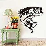 yaonuli Pez Boca Abajo Etiqueta de la Pared baño Cocina Pesca Pared calcomanía Dormitorio Vinilo decoración 58x23 cm