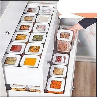 DHGFH Organisateur de Rangement de Cuisine 12 boîte de Nourriture en Plastique Clair Ensemble de conteneurs Vide paniers d...