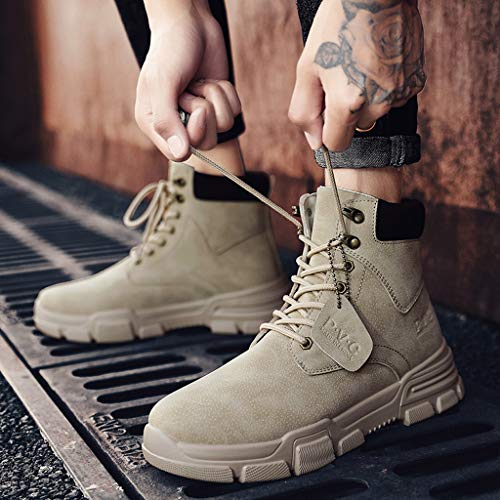 Men High Top Boots, Mosunx Winter Lace Up Warm Sneakers Ourdoor Non-Slip Snow Boots Combat Boots Work Shoes Motorcycle Riding Boots