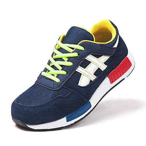 YMGW Suave y cómodo Transpirable Zapatos de Trabajo con Punta de Acero Ultra Liviano Protección Hombre Mujer Zapatillas de Seguridad,Azul,35EU