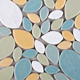 Mosaic Tiles-200g Pack of Assorted Stained Glass Ceramic Mosaic Tile Supplies for DIY Crafts, Plates, Picture Frames,Flowerpots,Handmade Jewelry-Tree Leaves (Panchromatic Mixed)