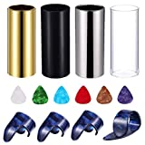 Topus 4 Pieces Medium Guitar Slides(Include 3 Colors Stainless Steel, 1 Pieces Glass), 6 Pieces Guitar Picks and 4 Pieces Plastic Thumb & Finger Picks in Storage box