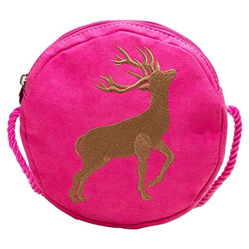 Alpenflüstern Damen Trachtentasche Herziger Hirsch Umhängetasche, Pink (Pink-Fuchsia), 3x15x15 cm