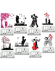 DecorVilla Vinyl PVC Couples Switch Board Sticker, 30 x 30 cm, Multicolour