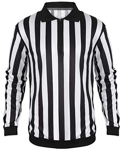 Yuar butee Men's Official Long Sleeve Black & White Stripe Soccer Referee Shirt Black 2XL
