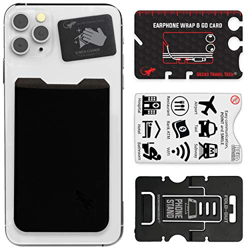 Gecko Travel Tech - Kartenhalter für Smartphones - Haftendes Kartenfach - Handytasche Handy-Tasche in Schwarz Schwarz
