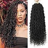 "Lihui 6Pcs/Lot Goddess Locs Crochet Hair 20Inch Curly Faux Locs Crochet Hair Wavy Faux Locs with Curly Ends Synthetic Braiding Hair Extension (20"",#1B Color)"