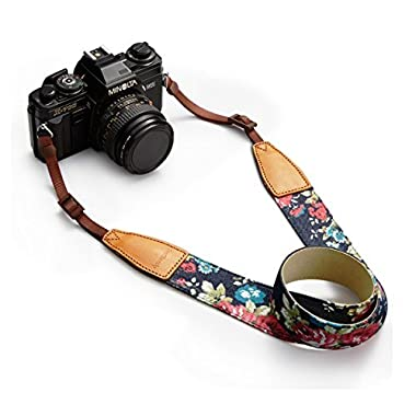BESTTRENDY Universal Camera Neck Shoulder Strap, Casual Vintage Neck Shoulder Camera Belt for All DSLR Camera Nikon/Canon/Sony/Olympus/Samsung/Pentax ETC/Olympus (Blue+Flower)