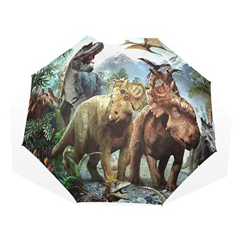Isaoa Automatique Voyage Parapluie Pliable Compact Parapluie Dinosaure Jurassic Coupe-Vent Ultra léger Protection UV Parapluie pour Homme ou Femme