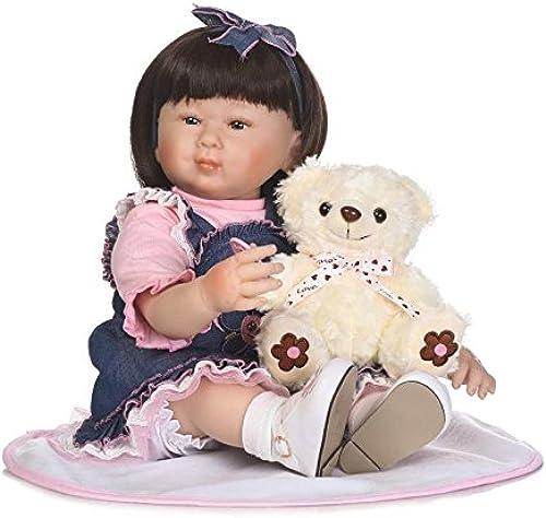 QXMEI Baby-Puppe Weiß Simulation Silikon 22 Zoll 56 cm Magnetisch Mund Lebensechte Junge mädchen Spielzeug