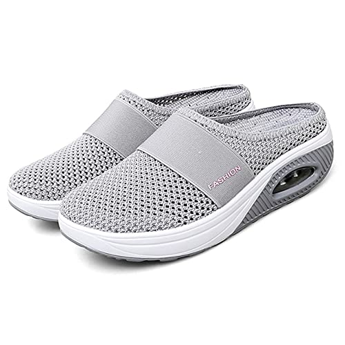Newly Upgraded Women Orthopedic Comfy Premium Slippers, Air Cushion Slip-On Walking Shoes,for House Shoes Indoor Outdoor (Gray,41)
