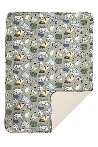 Hefbe knuffelige bio-babydeken, eersteklas deken, knuffeldeken met panda's of neushoorns, 75 x 105 cm, voor jongens of meisjes, grijs of groen Neushoorn