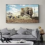 KWzEQ Imprimir en Lienzo Carteles de Pared de Elefante Africano y decoración del hogar para Sala de estar60x90cmPintura sin Marco