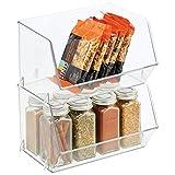 mDesign Organizador de frigorífico para guardar alimentos – Cajas de almacenamiento con frontal abierto para nevera, armario o congelador – Caja de plástico libre de BPA – Juego de 2 – transparente