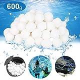 OMZGXGOD Balles Filtrantes, 600g Boules de Filtre de Piscine, Alternative pour 25 kg de Sable filtrant (Blanc)
