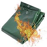 LSXIAO Lona Impermeable Resistente 560GSM Protección contra Incendios, Anti-Grasa Revestimiento Ignífugo Anti-UV con Arandela, Cuerda De Nylon para Soldar, Cubierta del Remolque